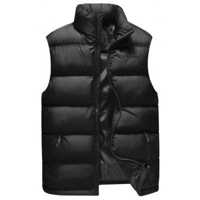 Zipper Pocket Embroidery Quilted Vest
