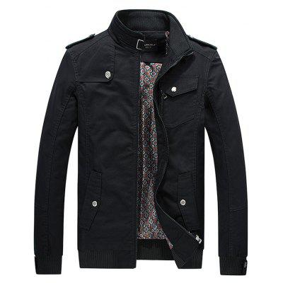 Metal Button Embellish Zip Fall Jacket