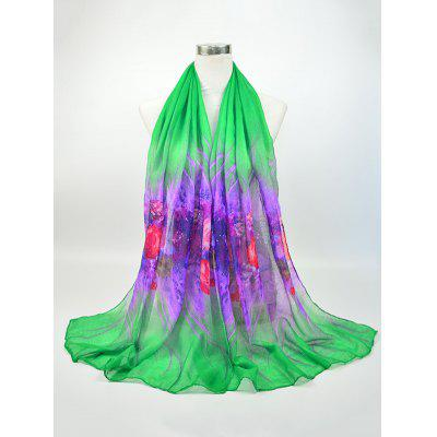 Two Tone Floral Printed Voile Shawl Scarf