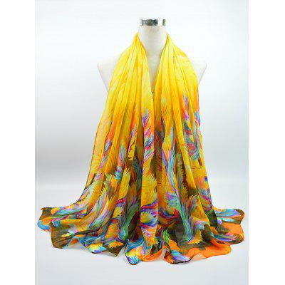 Multicolor Watercolour Printed Voile Gossamer Shawl Scarf