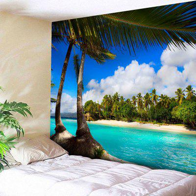 Buy BLUE Seaside Coconut Tree Print Wall Hanging Tapestry for $17.23 in GearBest store