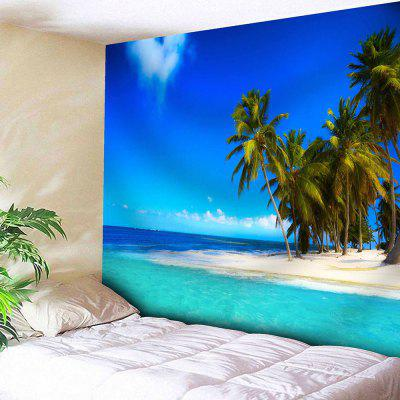 Buy LAKE BLUE Seaside Coconut Tree Print Wall Hanging Tapestry for $18.28 in GearBest store