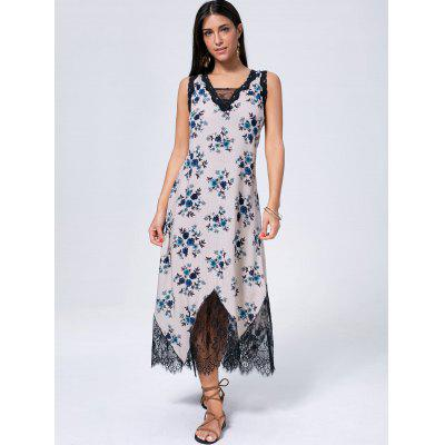 Floral Print Lace Trim Sleeveless Maxi DressWomens Dresses<br>Floral Print Lace Trim Sleeveless Maxi Dress<br><br>Dresses Length: Mid-Calf<br>Material: Polyester<br>Neckline: V-Neck<br>Package Contents: 1 x Dress<br>Pattern Type: Floral<br>Season: Spring, Summer<br>Silhouette: Shift<br>Sleeve Length: Sleeveless<br>Style: Cute<br>Weight: 0.2450kg<br>With Belt: No