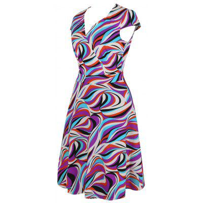 V Neck Geometric Print A Line DressWomens Dresses<br>V Neck Geometric Print A Line Dress<br><br>Dresses Length: Mid-Calf<br>Material: Cotton, Polyester<br>Neckline: V-Neck<br>Package Contents: 1 x Dress<br>Pattern Type: Geometric<br>Season: Summer<br>Silhouette: A-Line<br>Sleeve Length: Short Sleeves<br>Sleeve Type: Cap Sleeve<br>Style: Casual<br>Weight: 0.4500kg<br>With Belt: No