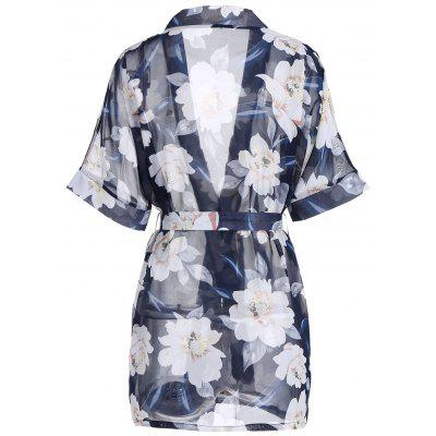 Chiffon Floral Sheer Robe with BeltPajamas<br>Chiffon Floral Sheer Robe with Belt<br><br>Material: Polyester<br>Package Contents: 1 x Robe  1 x Belt  1 x T Back<br>Pattern Type: Floral<br>Weight: 0.1800kg