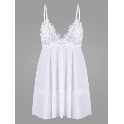 Buy WHITE L Mesh Embroidered Slip Babydoll for $27.80 in GearBest store