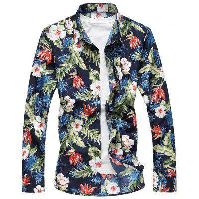 Plus Size 3D Flowers and Leaves Print Hawaiian Shirt