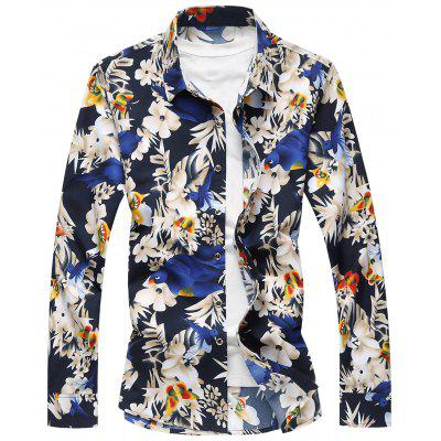 Plus Size Flowers and Birds Print Shirt