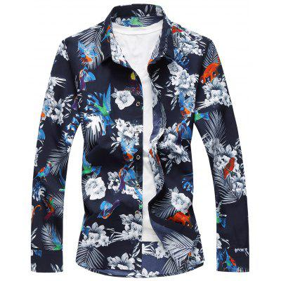 Plus Size Flowers and Birds Print Hawaiian Shirt