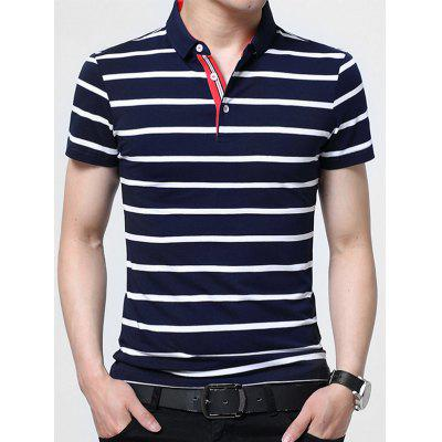 Half Button Striped Golf Shirt