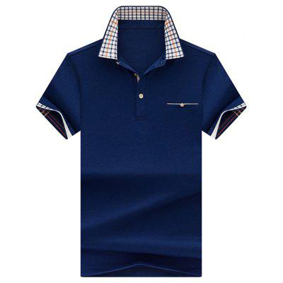 Check Collar Chest Pocket Polo Shirt