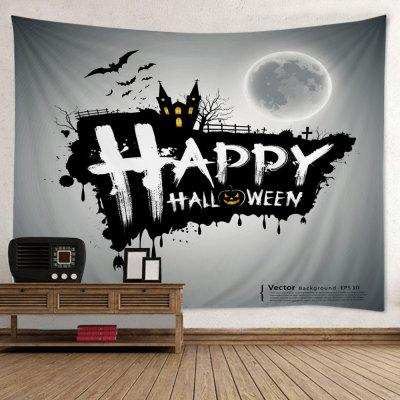 Buy GRAY Wall Hanging Art Decor Happy Halloween Print Tapestry for $16.02 in GearBest store