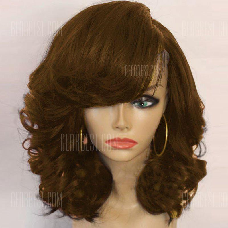 Buy Medium Side Part Shaggy Curly Synthetic Wig BROWN