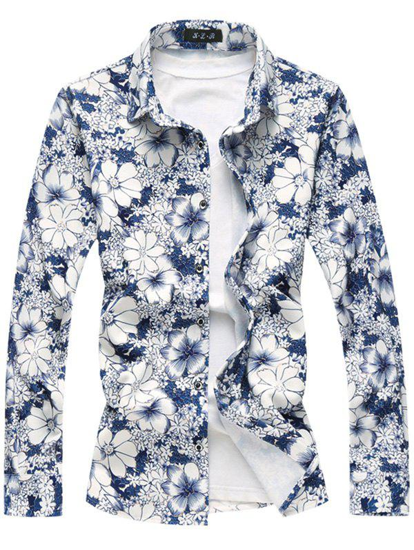 Golden Line Embellish Flowers Printed Shirt
