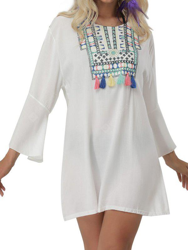 Embroidered Bell Sleeve Mini Cover Up Dress