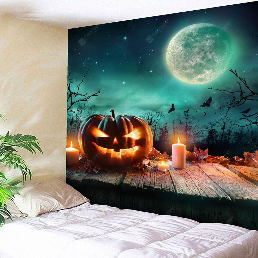 COLORFUL Halloween Candle Pumpkin Moon Waterproof Tapestry