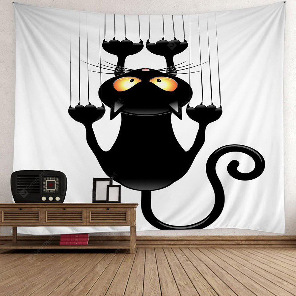 BLACK Halloween Black Cat Wall Tapestry