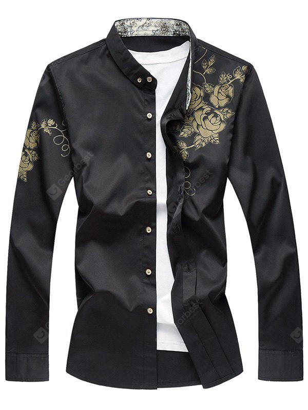 Golden Flowers Printed Long Sleeves Shirt