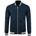 Stripe Rib Panel Stand Collar Zip Up Jacket - BLUE