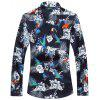Plus Size Flowers and Birds Print Hawaiian Shirt - COLORMIX