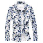 Golden Line Embellish Flowers Printed Shirt - AZUL