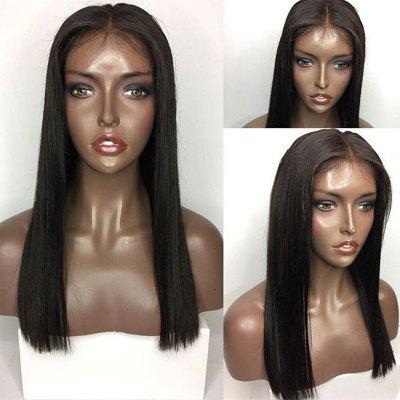Buy NATURAL BLACK Long Middle Part Straight Lace Front Human Hair Wig for $142.27 in GearBest store