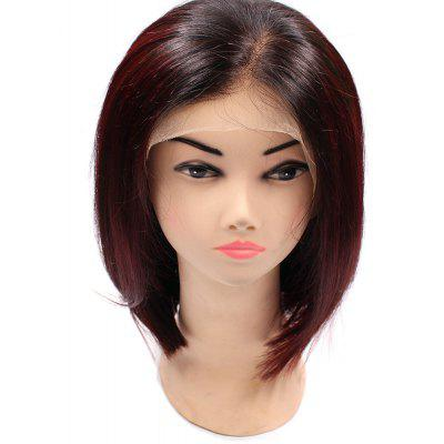 Short Side Part Colormix Straight Bob Indian Lace Frente Cabelo Humano Peruca