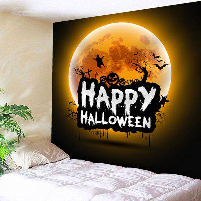 Happy Halloween Moon Waterproof Wall Tapestry