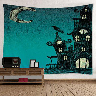 Buy GREEN Wall Hanging Art Decor Halloween Night Print Tapestry for $15.00 in GearBest store