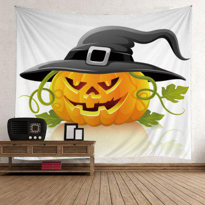 Halloween Pumpkin in Hat Wall Art Tapestry
