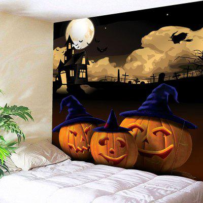 Buy GRAY Halloween Night Moon Pumpkin Waterproof Wall Hanging Tapestry for $12.27 in GearBest store