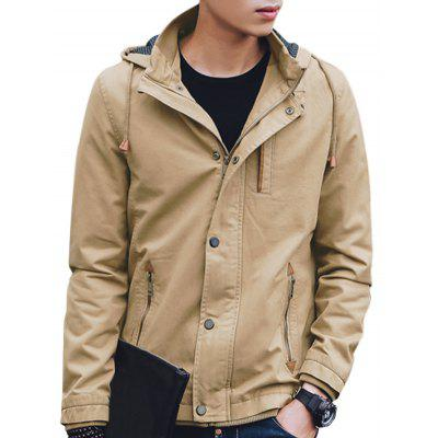 Drawstring Hooded Zip Up Jacket