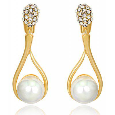 Faux Pearl Hollow Out pendientes de lágrima Rhinestone