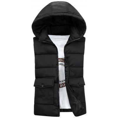Detachable Hooded Pockets Embellished Padded Waistcoat