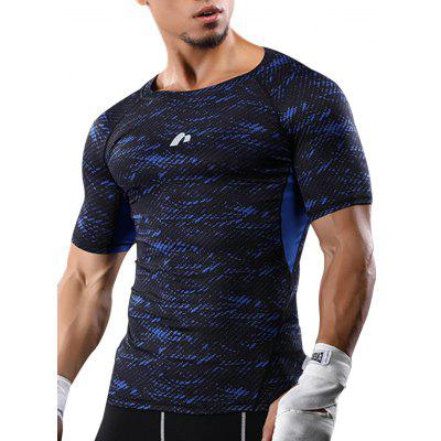 Raglan Sleeve Camouflage Quick Dry Stretchy Gym T-shirt
