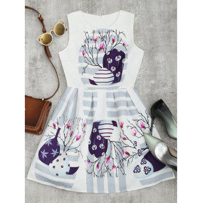 Stripe Floral Print Fit and Flare Dress