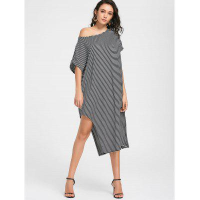 Skew Neck Striped Side Slit DressWomens Dresses<br>Skew Neck Striped Side Slit Dress<br><br>Dresses Length: Mid-Calf<br>Material: Cotton Blend<br>Neckline: Skew Collar<br>Occasion: Causal<br>Package Contents: 1 x Dress<br>Pattern Type: Striped<br>Season: Fall, Spring, Summer<br>Silhouette: Straight<br>Sleeve Length: Short Sleeves<br>Style: Casual<br>Weight: 0.3300kg<br>With Belt: No