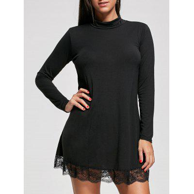 Buy BLACK L Mock Neck Long Sleeve Lace Trim Tunic Dress for $21.02 in GearBest store