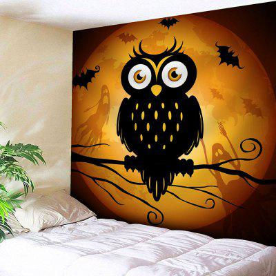 Waterproof Owl Moon Halloween Tapestry