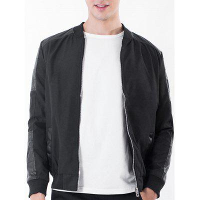 Rib Stand Collar PU Leather Panel Zip Up Jacket