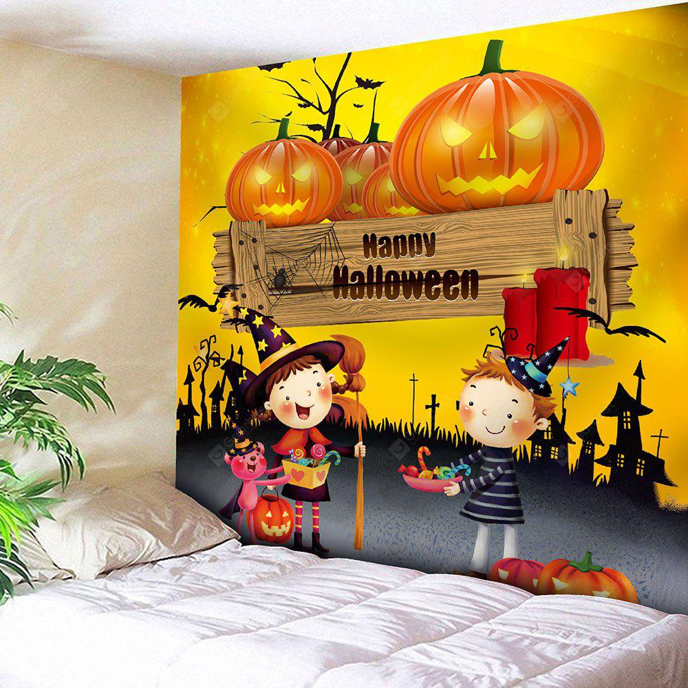 YELLOW Happy Halloween Pumpkin Waterproof Tapestry