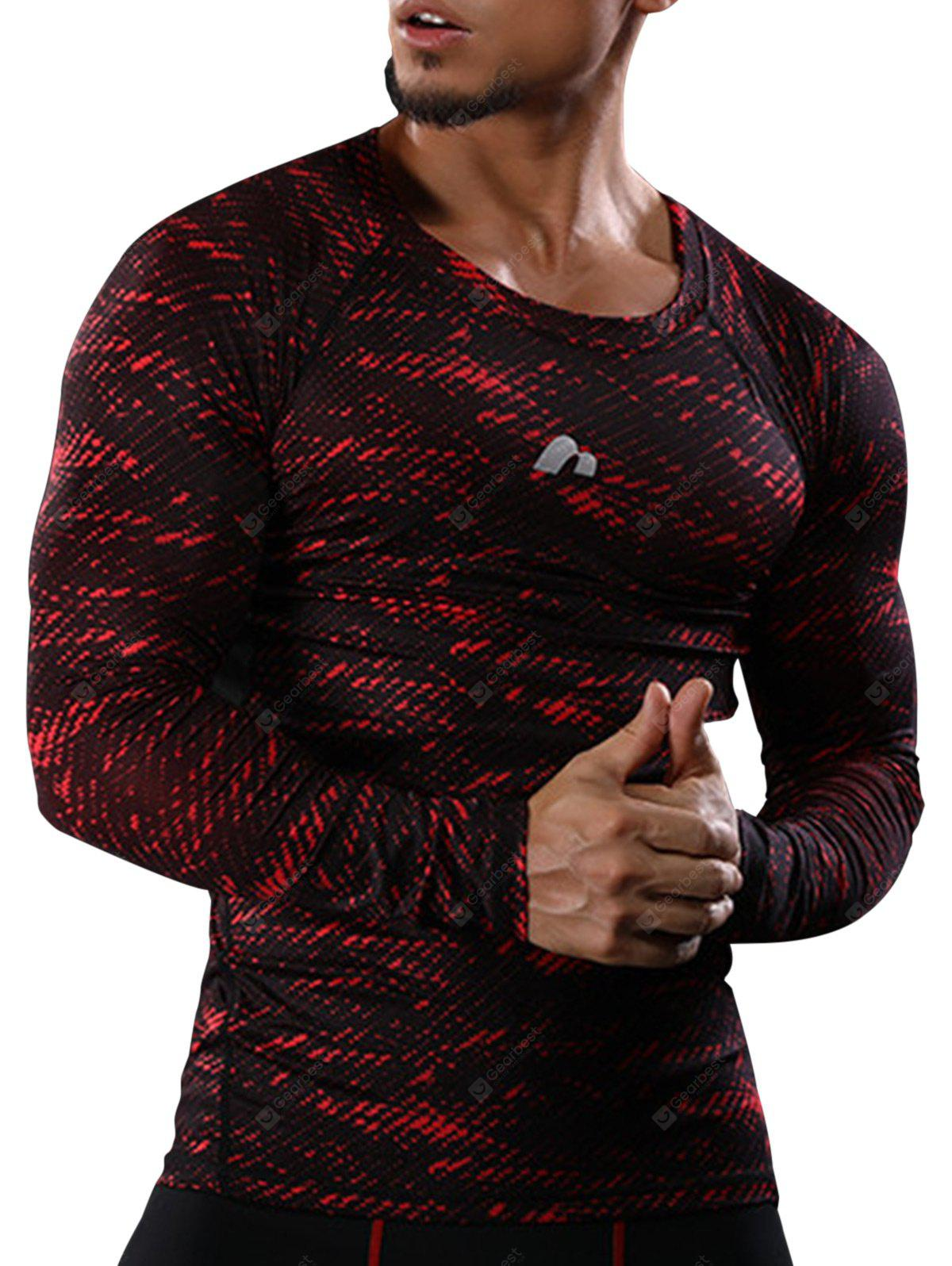 RED Camouflage Openwork Panel Quick Dry Gym T-shirt
