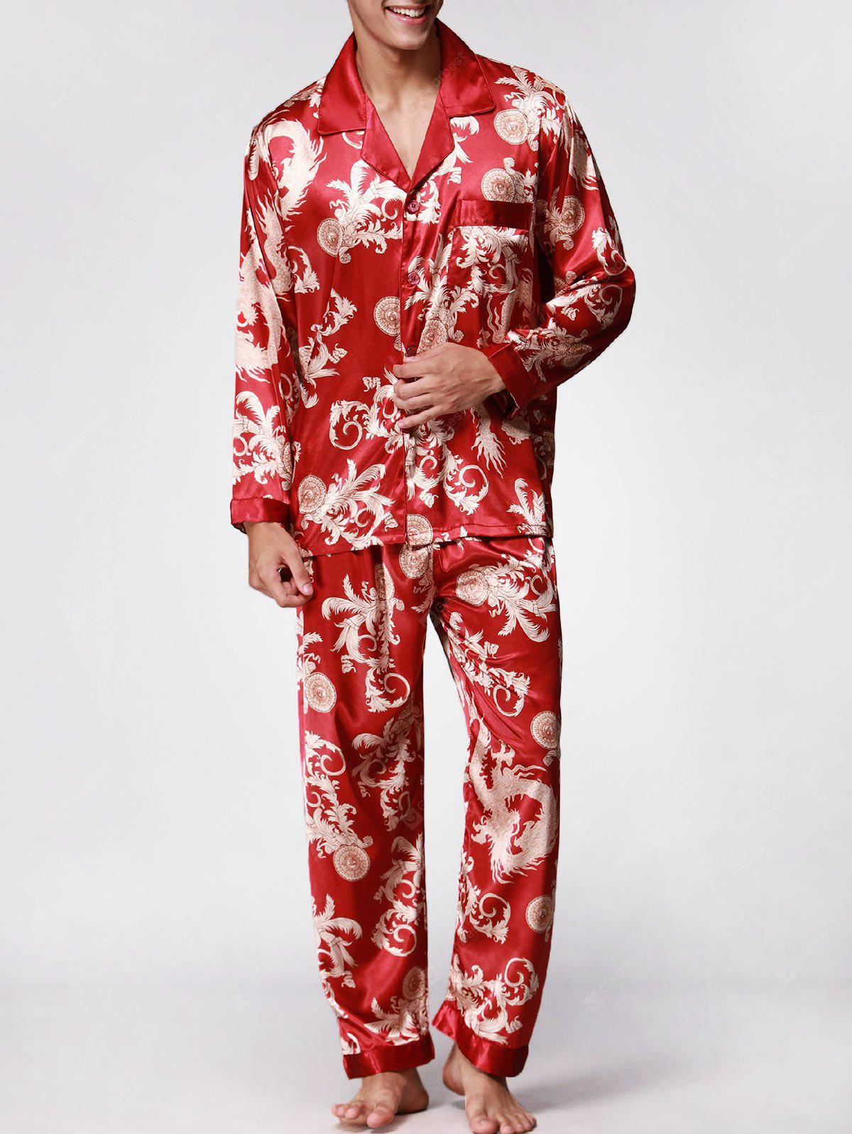 Dragon Printed Long Sleeves Pajamas Set
