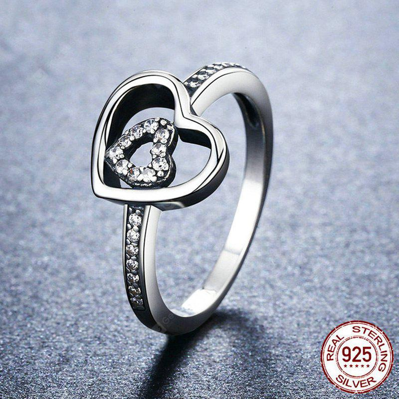 Rhinestone Double Heart Sterling Silver Ring