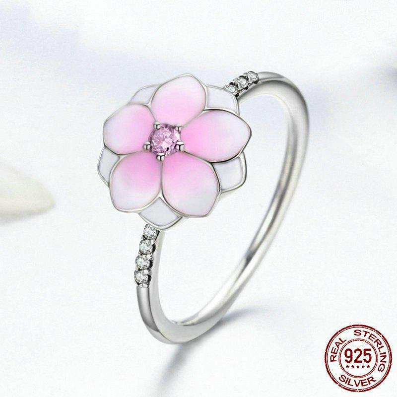 Rhinestone Sterling Silver Flower Ring