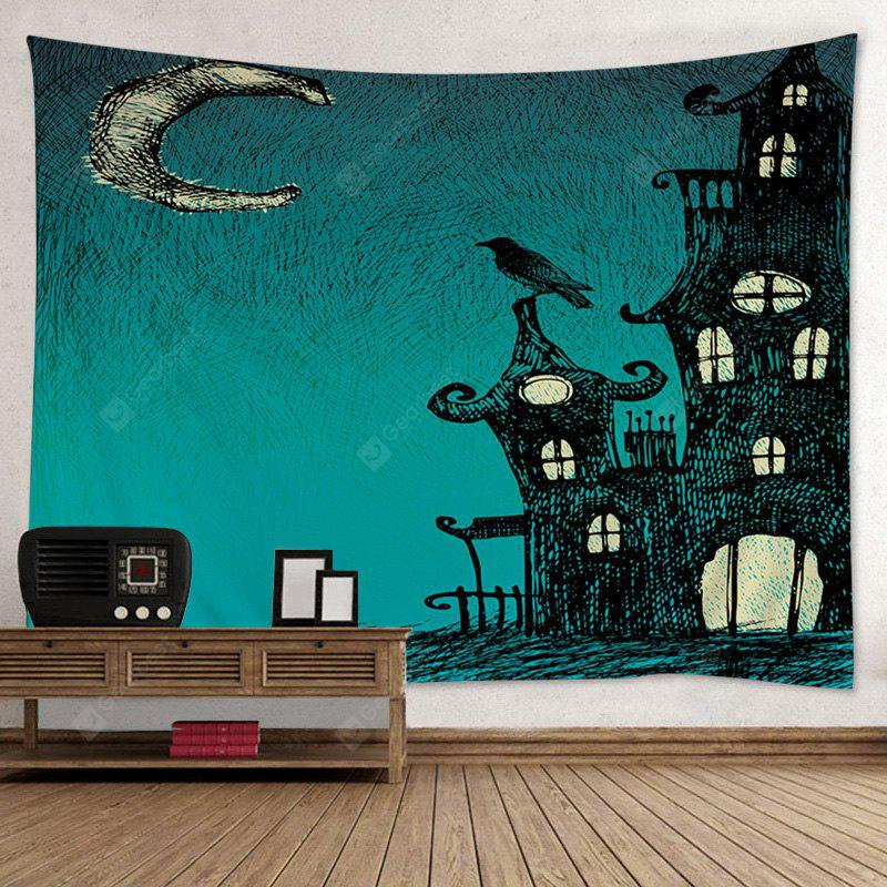GREEN Wall Hanging Art Decor Halloween Night Print Tapestry