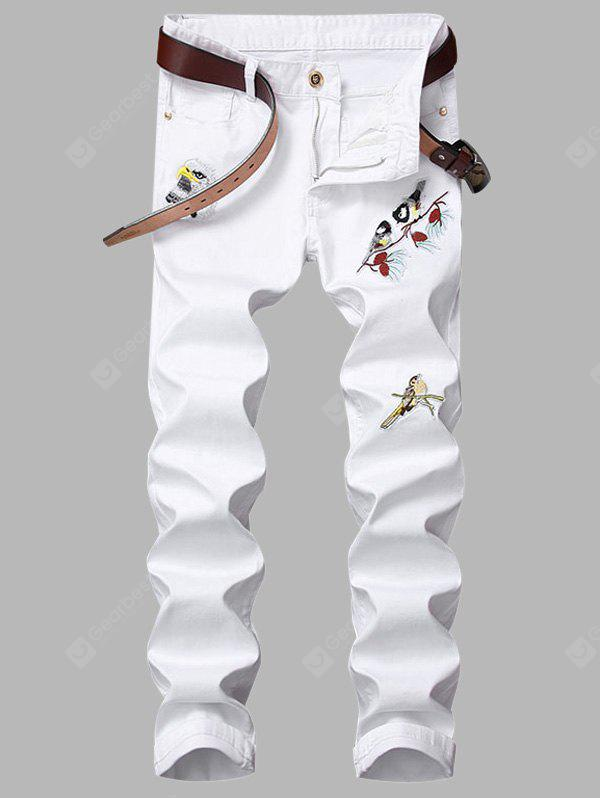 Zipper Fly Birds Embroidered Appliques Design Jeans