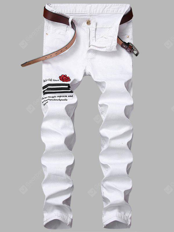 Zipper Fly Rose Graphic Embroidered Stripe Jeans