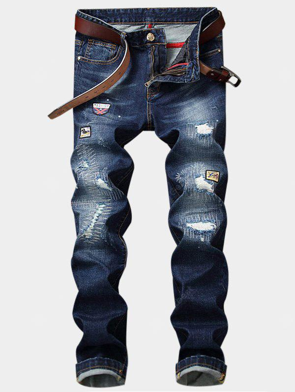 Zipper Fly Patch Straight Leg Ripped Jeans