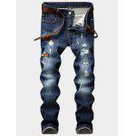 Zipper Fly Embroidered Patch Design Ripped Jeans - BLUE